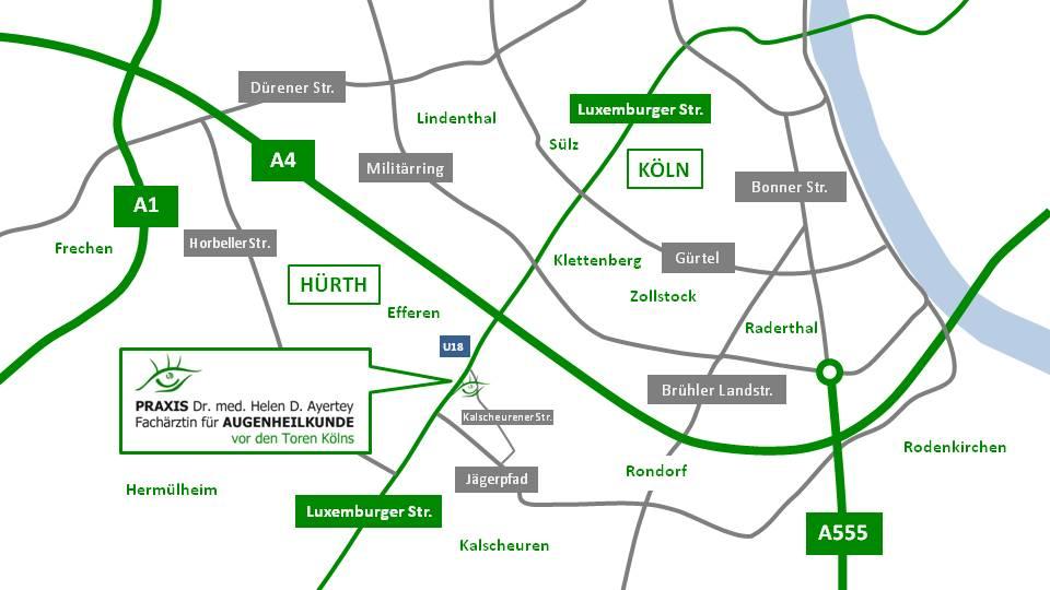 Lageplan, Augenheilkunde vor den Toren Kölns, Dr. med. Helen Ayertey